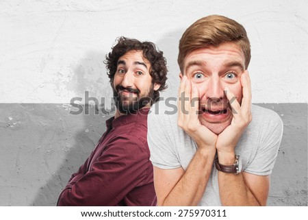 worried blond man - stock photo