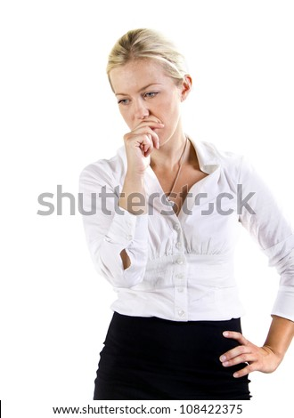 Worried business woman - stock photo