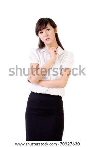 Worried business woman, closeup portrait over white background. - stock photo