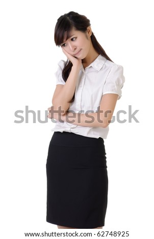 Worried business woman with frustrate expression against white background. - stock photo