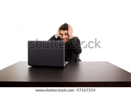 Worried businessman at the desk, stressful businesslife, isolated on white