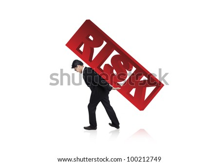 Worried businessman carrying risk sign on his back. Shot in studio isolated on white - stock photo
