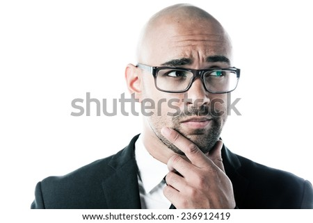 Worried businessman isolated on white - stock photo