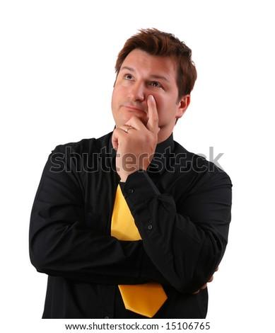 Worried businessman thinking - stock photo