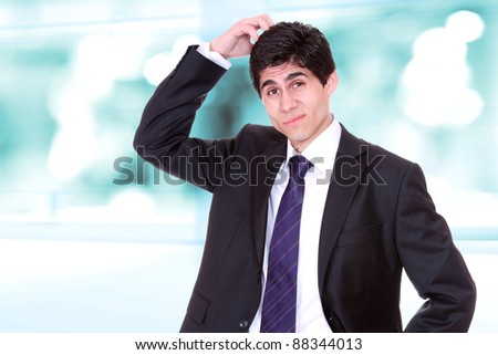 Worried businessman  with light business background