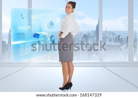 Worried businesswoman against airplane flying over window