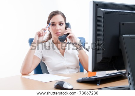 Worried businesswoman, talking over the phone
