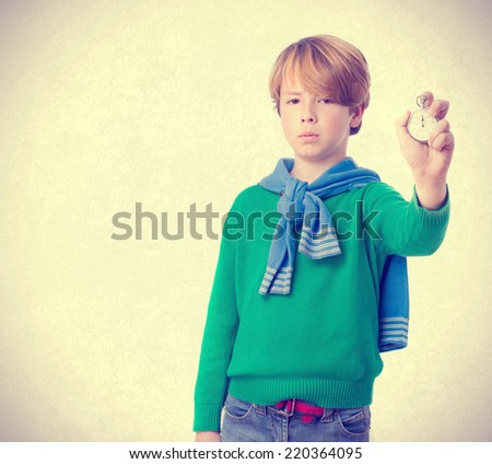 Worried child with a timer