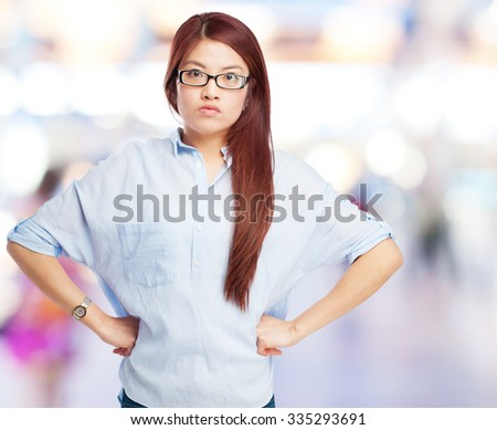 worried chinese woman angry pose