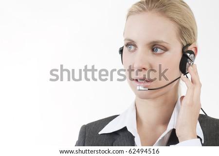 Worried customer service representative - stock photo