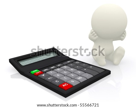 Worried 3D person with a calculator isolated over a white background - stock photo