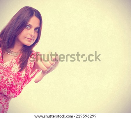Worried girl loser gesture - stock photo
