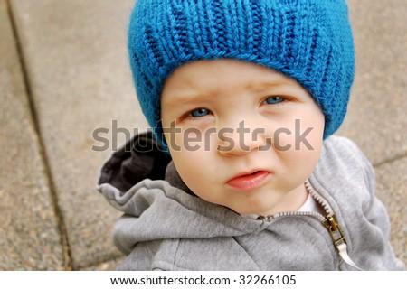 Worried Little Boy - stock photo