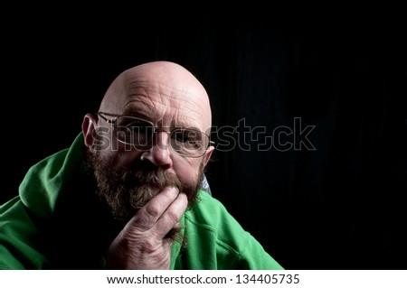 Worried man thinking - stock photo