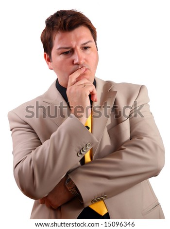 Worried man thinking about problems - stock photo