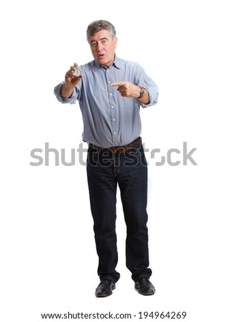 Worried man with a timer