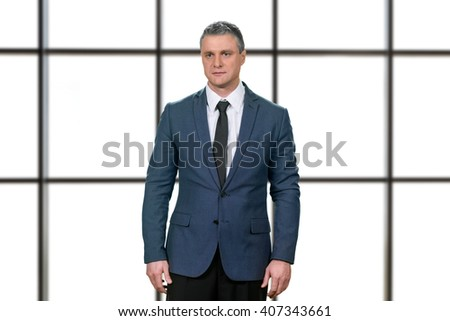 Worried mature businessman in suit. Upset manager on white background. Things just got real. Disappointed and stunned. - stock photo