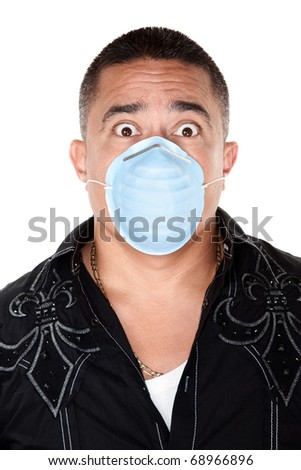 Worried Native American man with surgical mask on a white background - stock photo