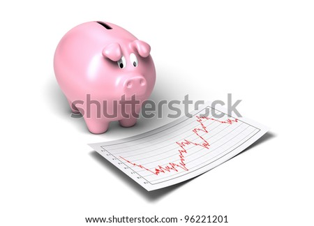 worried piggy bank looking at crash of it's shares onto a sheet of paper white background