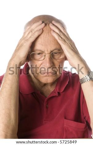 Worried senior man - stock photo