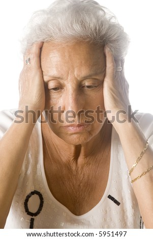 Worried senior woman - stock photo