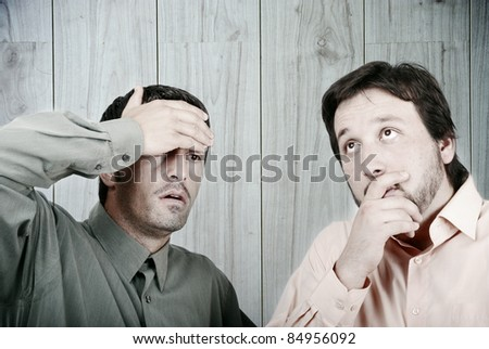 Worried two Businessmen - stock photo