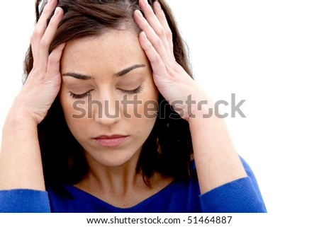 Worried woman portrait isolated over a white background - stock photo