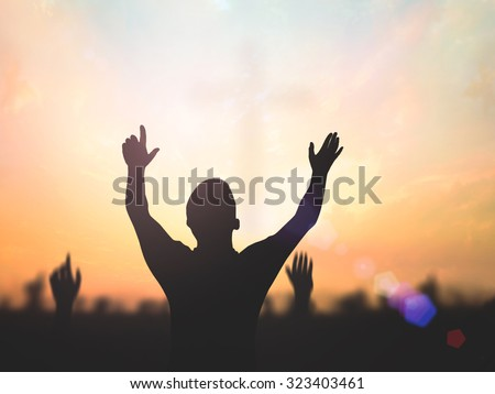 Worship concept. Autumn, Blur, Crown, Give, Golden, Over, Raising, Reaching, Sunset, Thorns, Together, Lent, Amen, Help, Trust, Human, Morning, Evening, Hope, Love. - stock photo