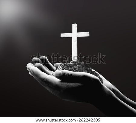 Worship concept. Give, Over, Raising, Reaching, Thorns, Lent, Amen, Help, Trust, Human, Hope, Room, Light, Love, Prayer - stock photo