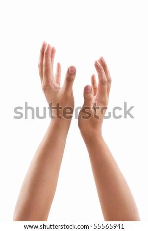 Worship gesture hand of dark skin tone against white background - stock photo
