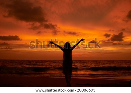 Worship, great colors, person isn't identifiable, deep DOF - stock photo