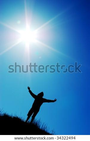 Worship to sun. Element of design. - stock photo