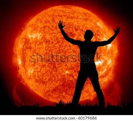 Worship to Sun. Element of design. - stock photo