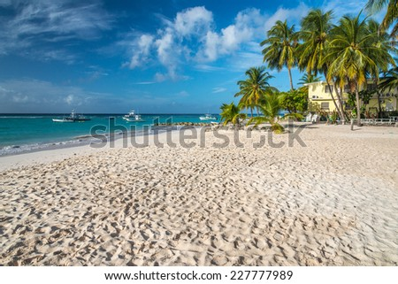 Worthing Beach on the south coast of the Caribbean island of Barbados in the West Indies. - stock photo