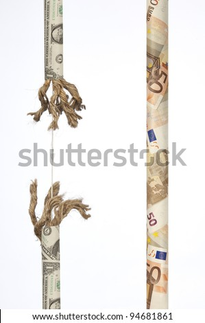 Wound string of banknotes which is unraveling