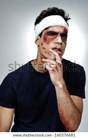 Wounded and cured man - stock photo