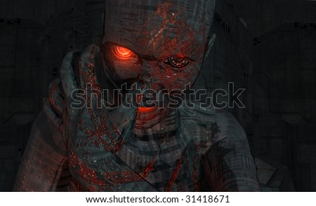 wounded cyborg woman - stock photo