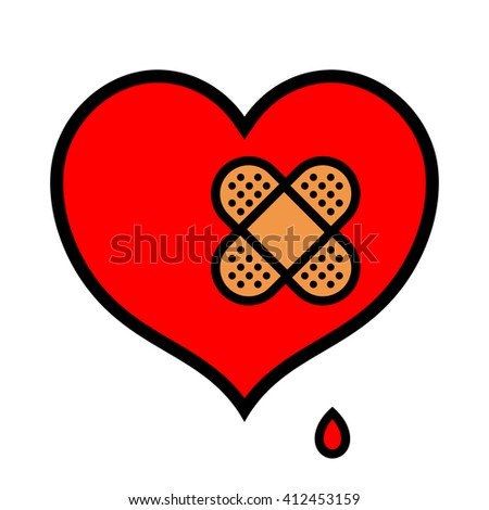 Wounded little red symbolic heart icon dripping blood with pair of crossed over bandages over isolated white background - stock photo