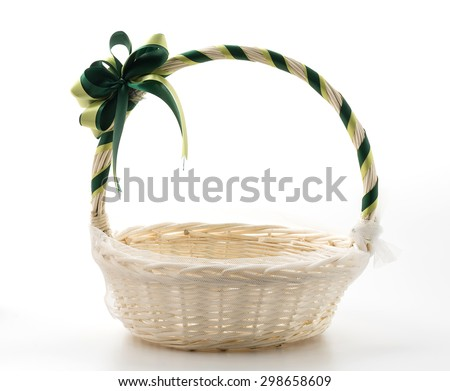 Woven basket on white background - stock photo