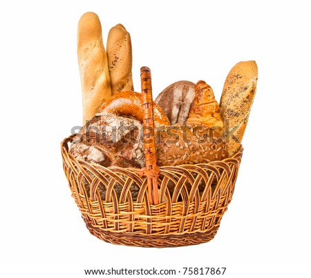 Woven basket with different kind of bread isolated on white background - stock photo