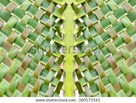 Woven coconut leaves - stock photo