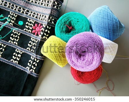 Woven pattern handicraft of north ethnic people in Thailand. - stock photo