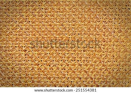 Woven rattan pattern background. Retro style texture. - stock photo