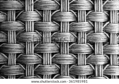 woven rattan with natural patterns texture background with black and white color - stock photo