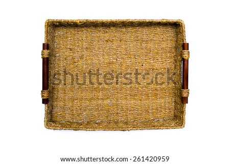 Woven rope basket with handles top view - stock photo