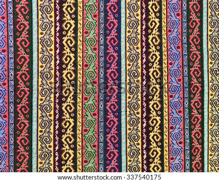 woven rug and tapestry - vintage carpets on a Turkish bazaar. Traditional Turkey rugs - oriental craft and decor of interior. - stock photo