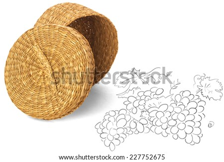 woven straw basket isolated on white background. for design - stock photo
