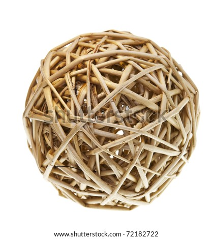Woven wicker or bamboo balls used for decorating - stock photo