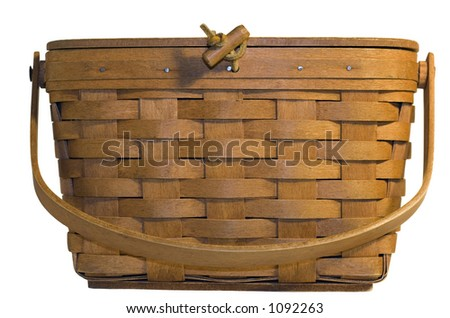 Woven Wood Basket - Isolated on White - stock photo