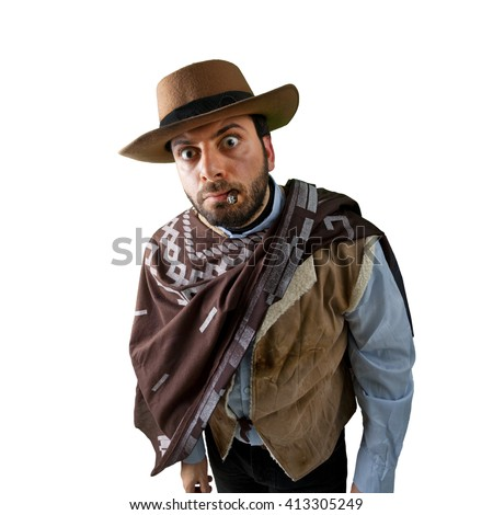 WOW Gunfighter in the old wild west on white background - stock photo